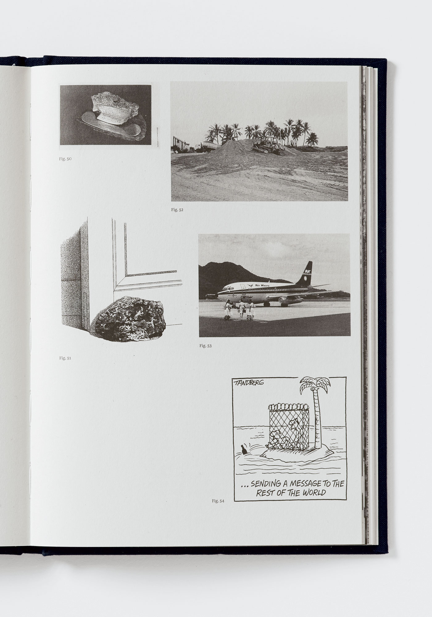 Pages from *Nicholas Mangan: Nauru—Notes from a Cretaceous World* (Melbourne: The Narrows, 2010; designed by Warren Taylor). Reproduction photographer: Matthew Stanton.